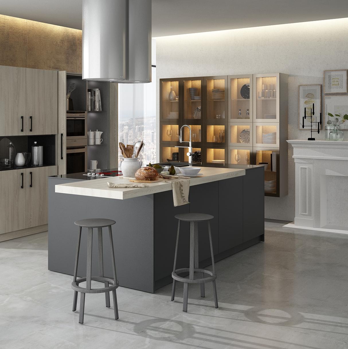 Cocina con puertas escamoteables dise o e instalaci n de for Comprar cocinas en madrid