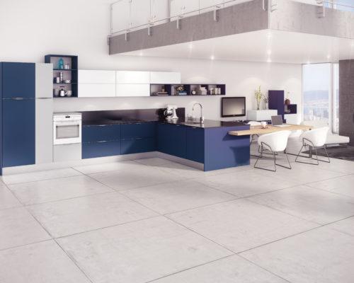 Cocina Fenix Azul Noche + Gris Claro + Blanco